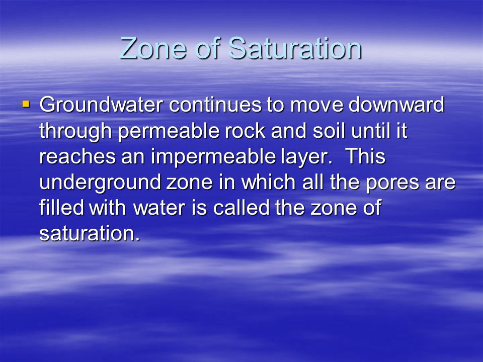 Zone of Saturation