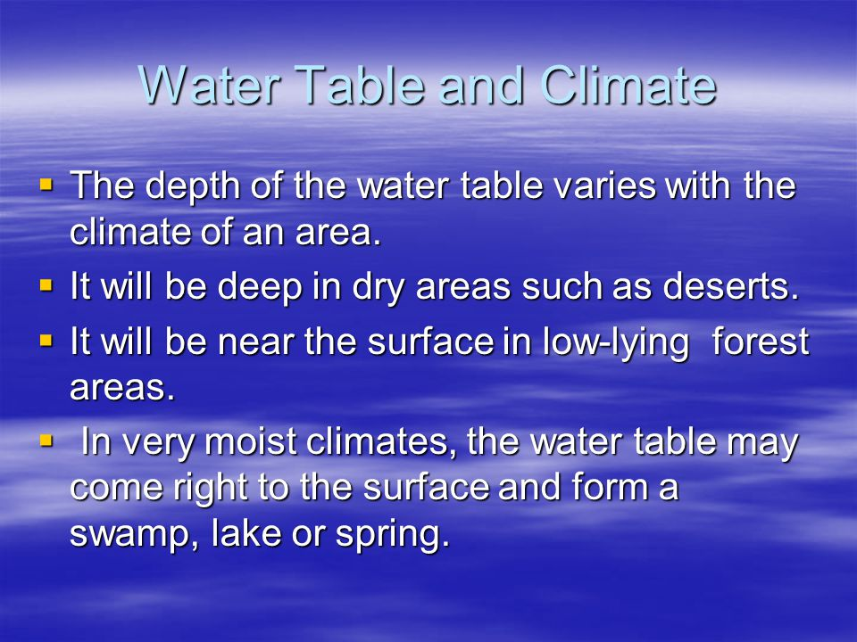 Water Table and Climate