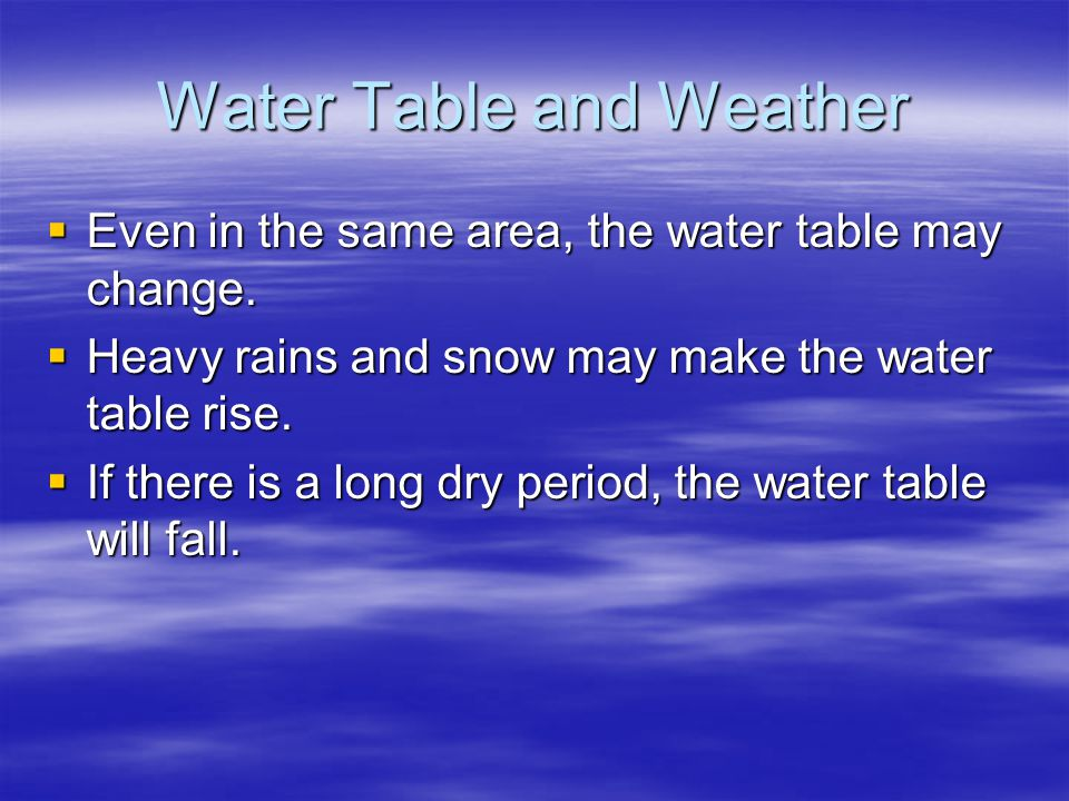 Water Table and Weather