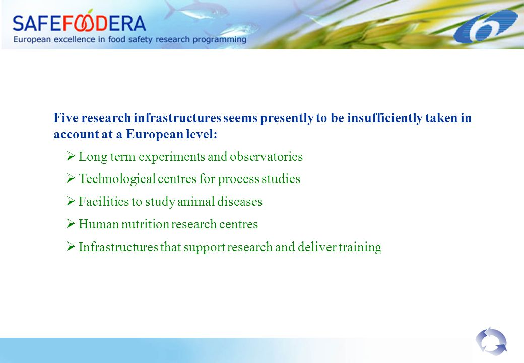 Five research infrastructures seems presently to be insufficiently taken in