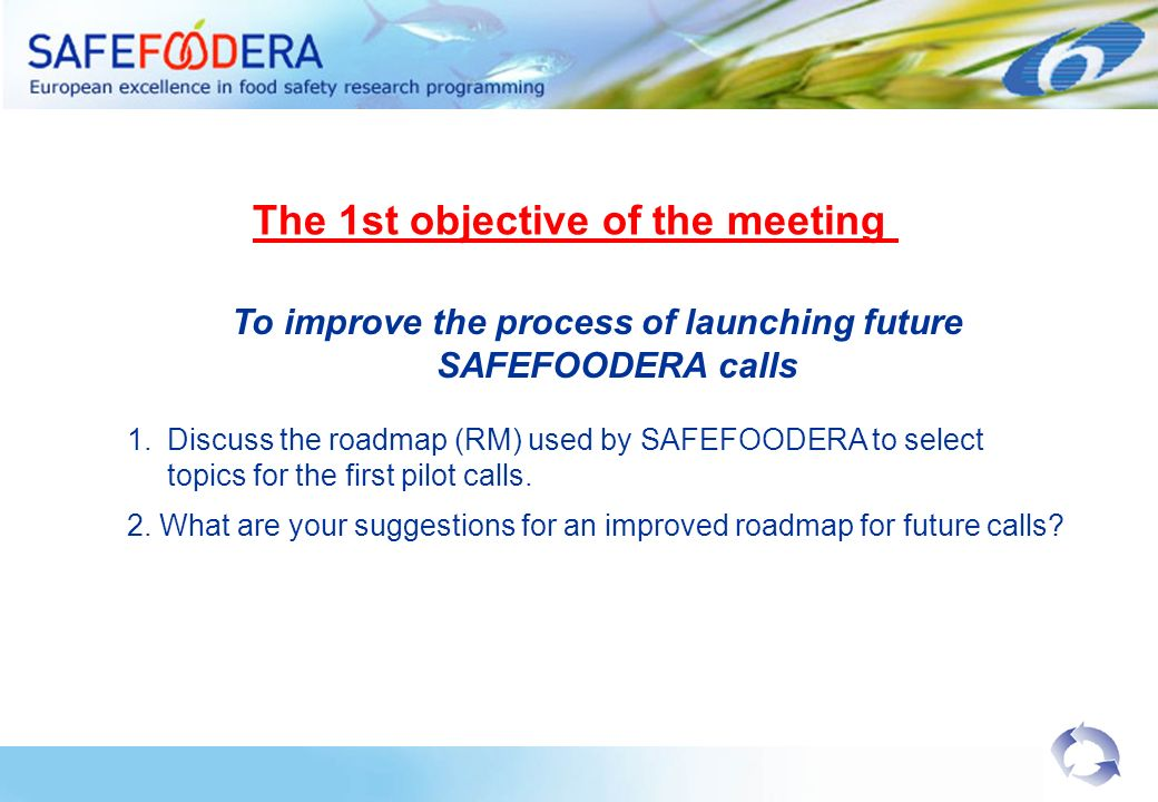 To improve the process of launching future SAFEFOODERA calls