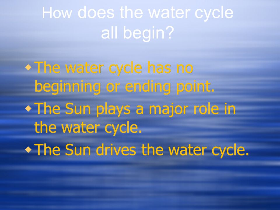 How does the water cycle all begin