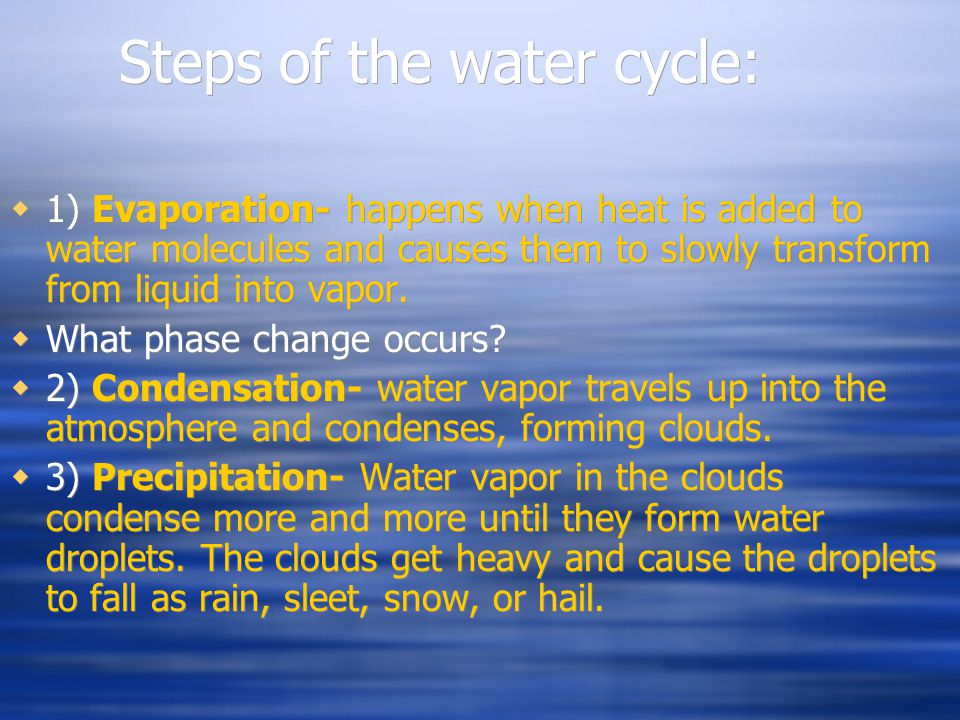 Steps of the water cycle: