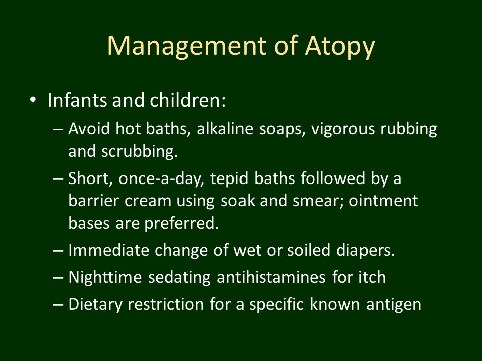Management of Atopy Infants and children: