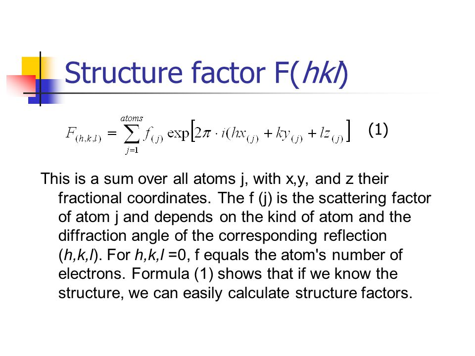 Structure factor F(hkl)