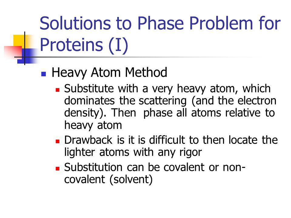 Solutions to Phase Problem for Proteins (I)