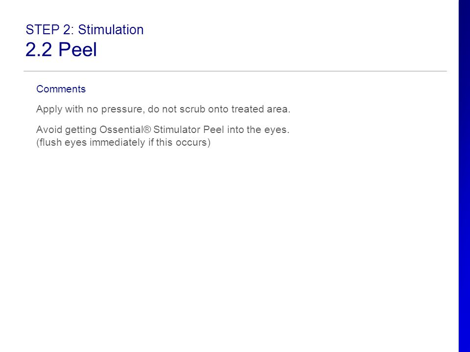 2.2 Peel STEP 2: Stimulation Comments