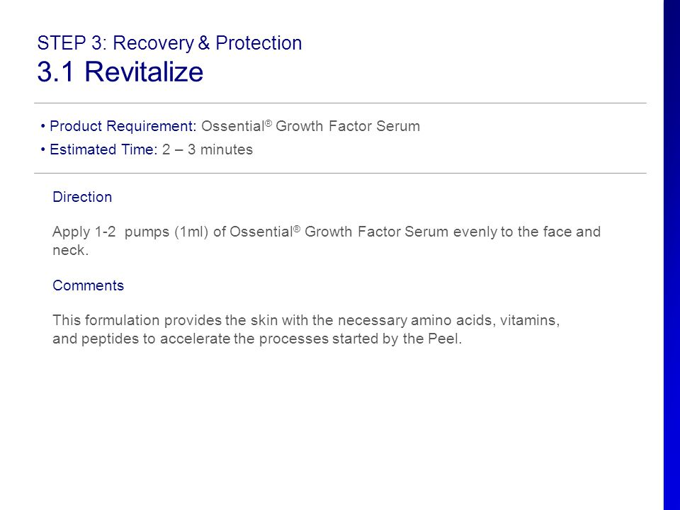 3.1 Revitalize STEP 3: Recovery & Protection