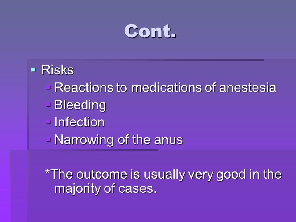 Cont. Risks Reactions to medications of anestesia Bleeding Infection