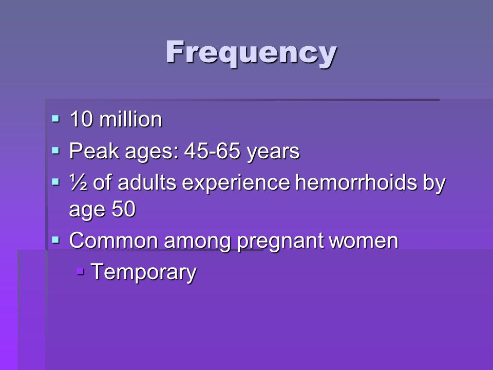 Frequency 10 million Peak ages: 45-65 years