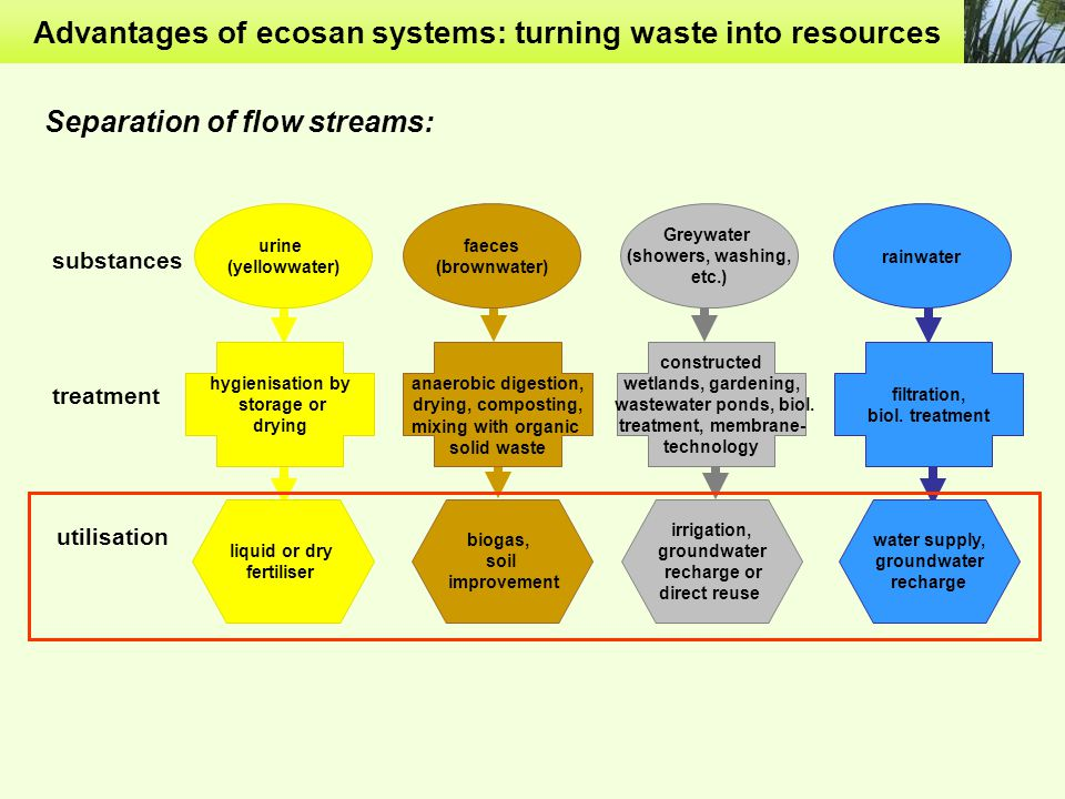 Advantages of ecosan systems: turning waste into resources