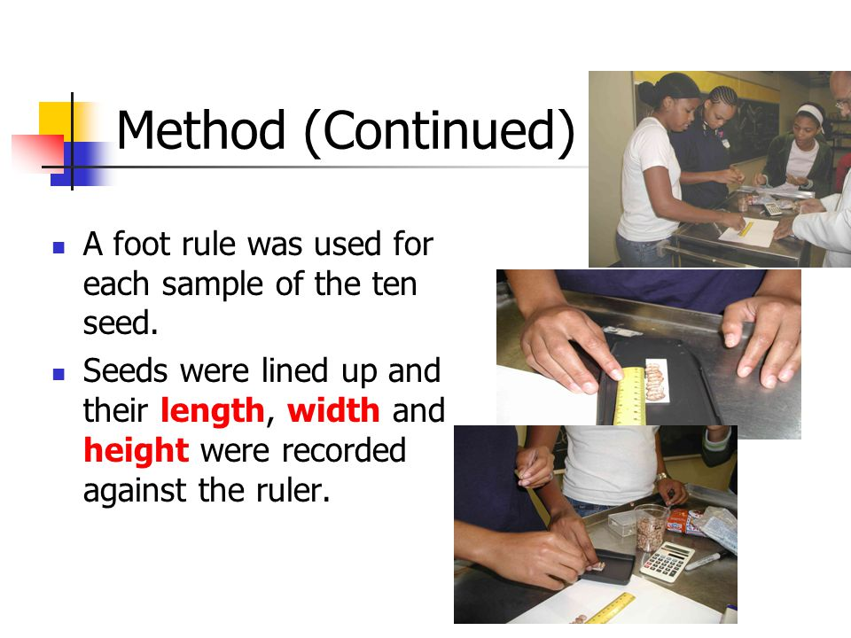 Method (Continued) A foot rule was used for each sample of the ten seed.