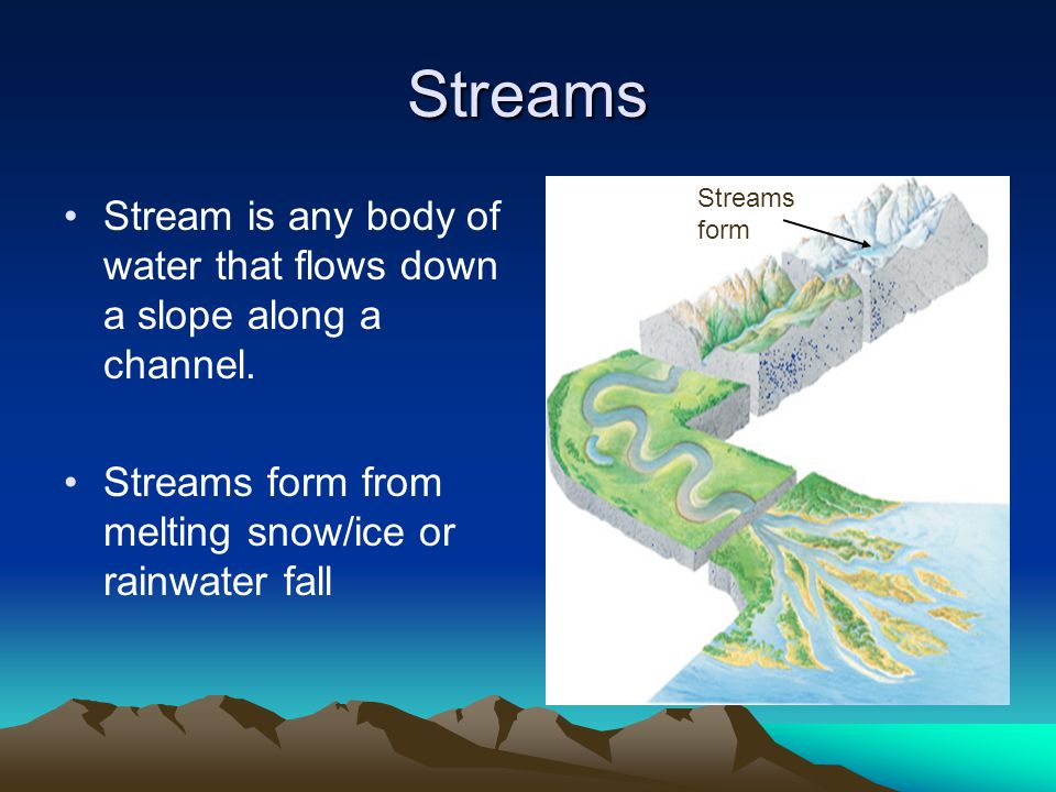 Streams Streams form. Stream is any body of water that flows down a slope along a channel.
