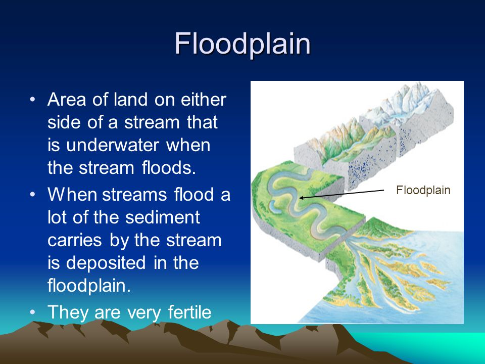 Floodplain Area of land on either side of a stream that is underwater when the stream floods.