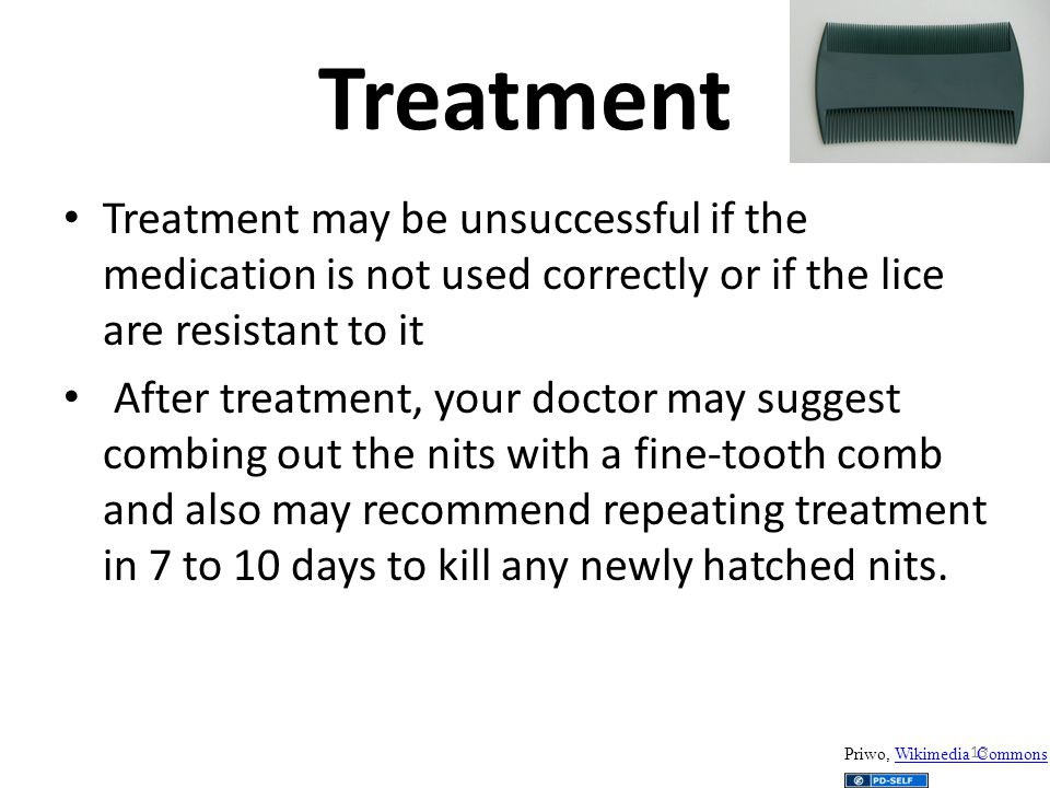 Treatment Treatment may be unsuccessful if the medication is not used correctly or if the lice are resistant to it.