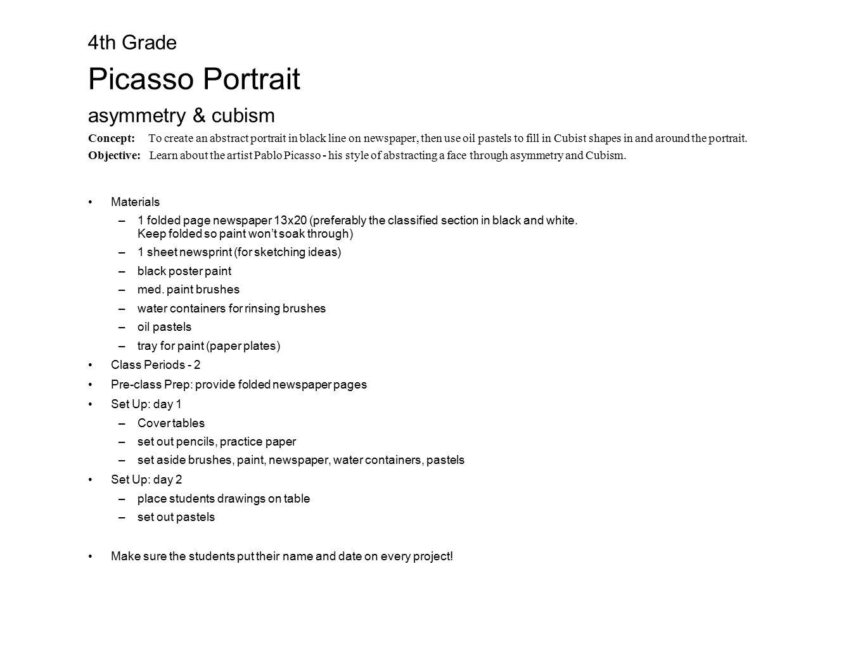 4th Grade Picasso Portrait asymmetry & cubism Concept: