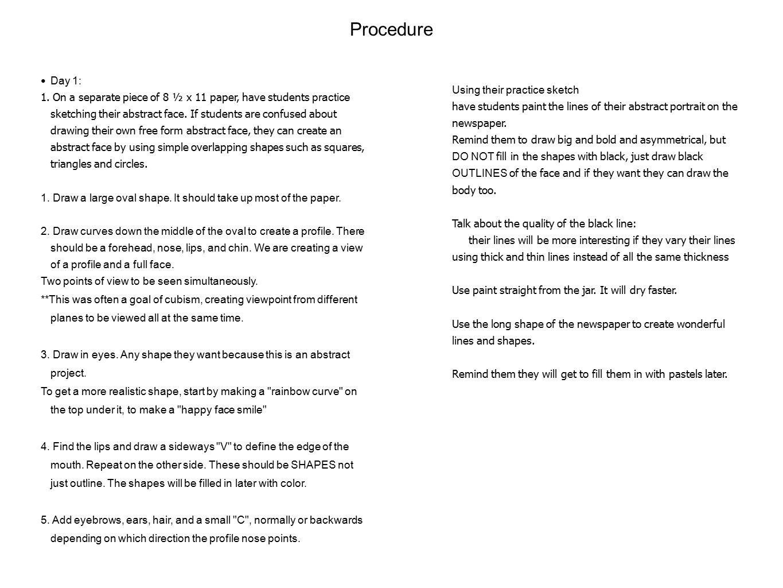 Procedure Day 1: