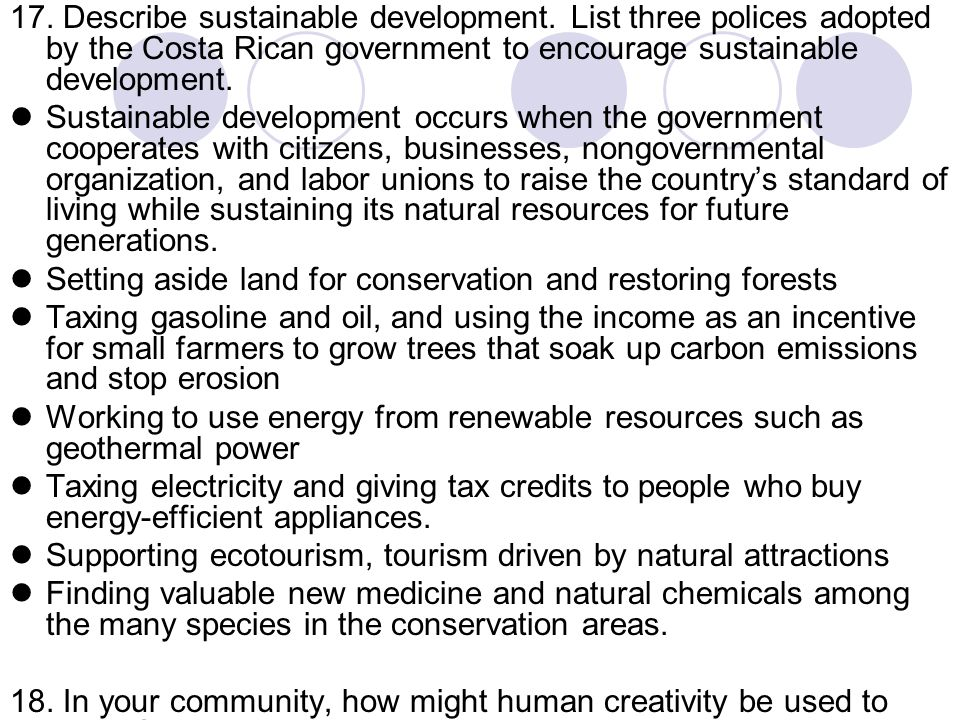 17. Describe sustainable development
