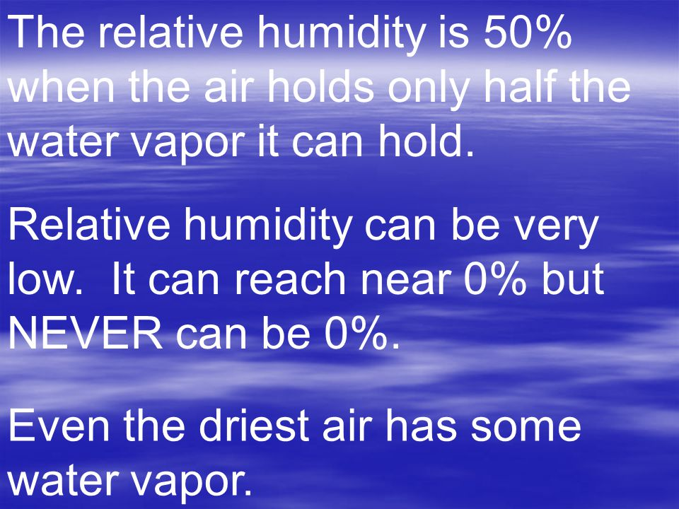 The relative humidity is 50% when the air holds only half the water vapor it can hold.