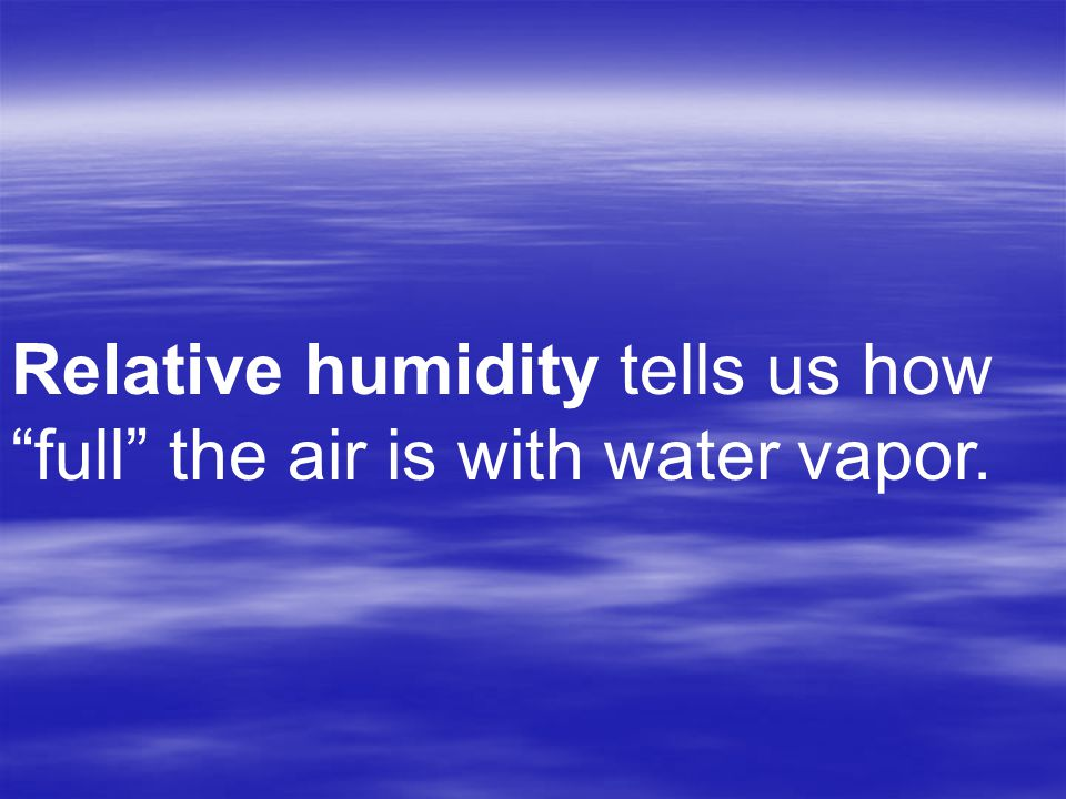 Relative humidity tells us how full the air is with water vapor.