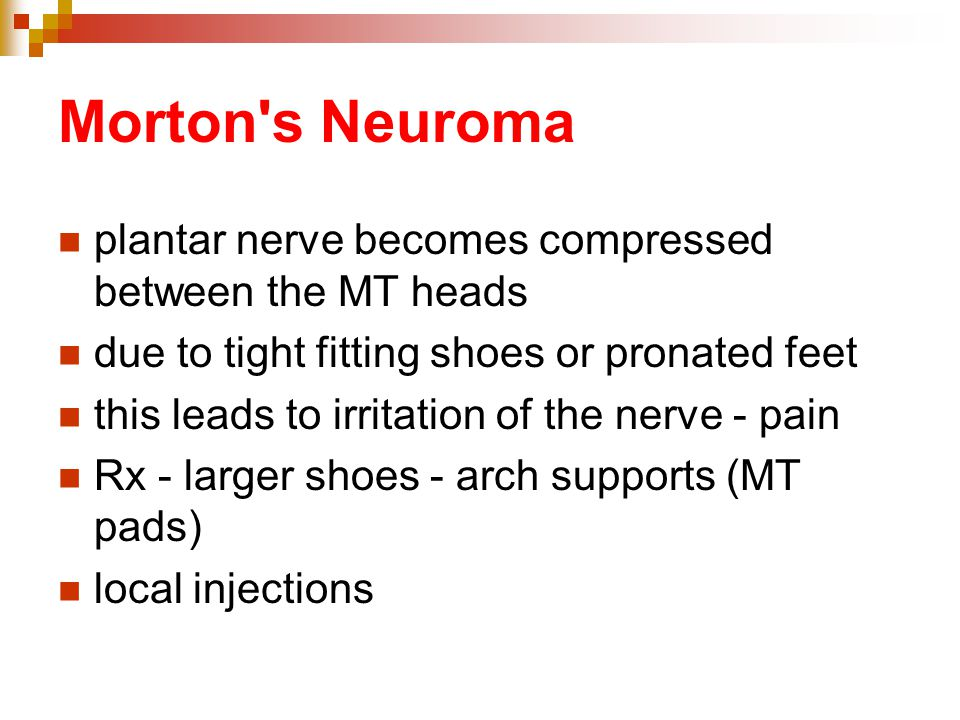 Morton s Neuroma plantar nerve becomes compressed between the MT heads