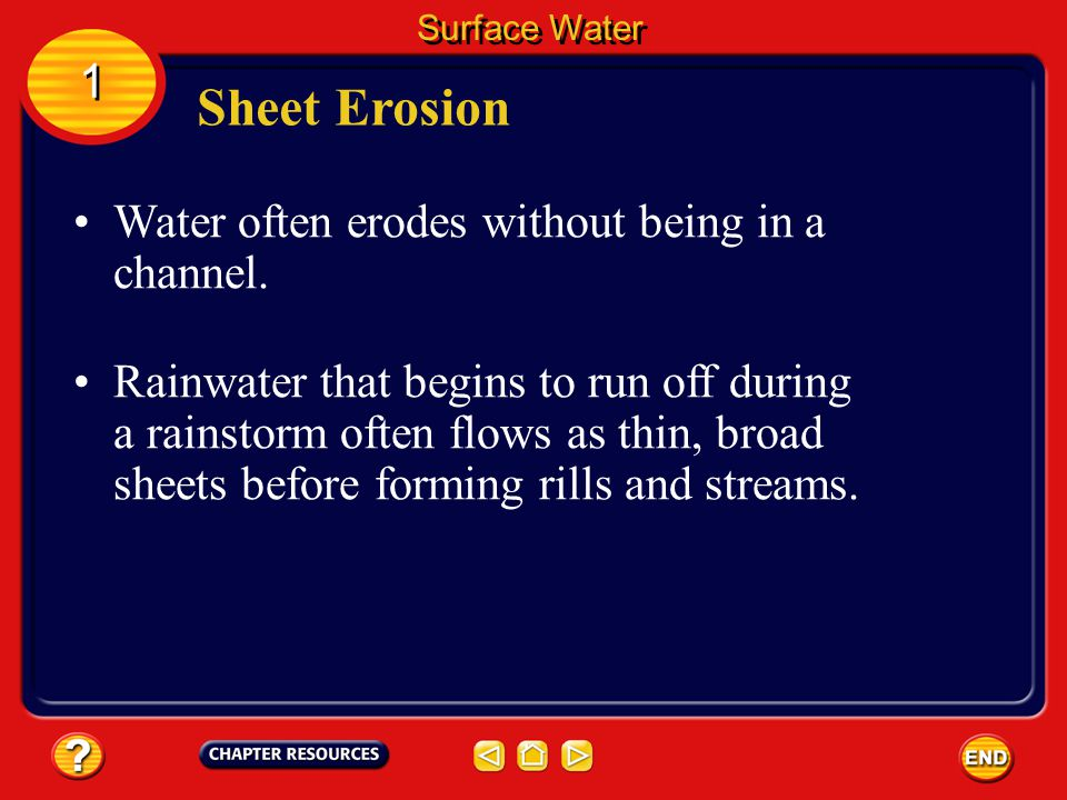 Sheet Erosion 1 Water often erodes without being in a channel.