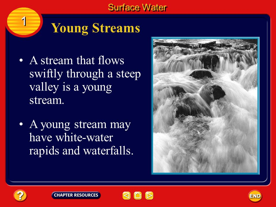 Surface Water 1. Young Streams. A stream that flows swiftly through a steep valley is a young stream.
