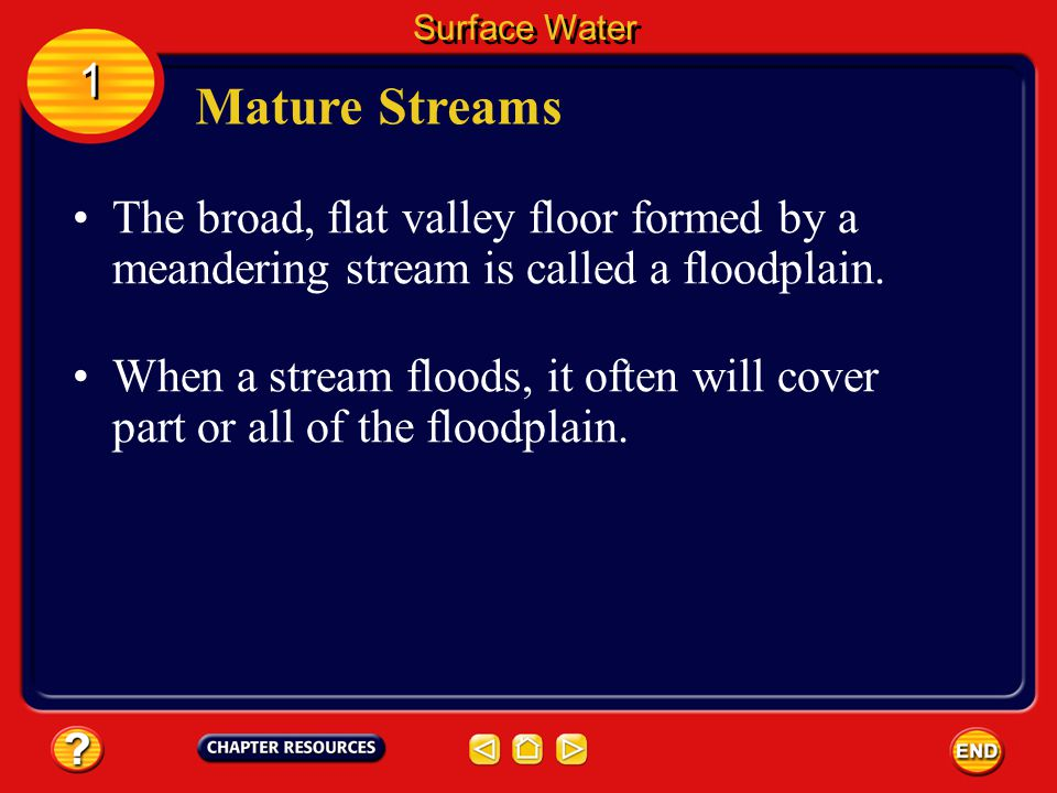 Surface Water 1. Mature Streams. The broad, flat valley floor formed by a meandering stream is called a floodplain.