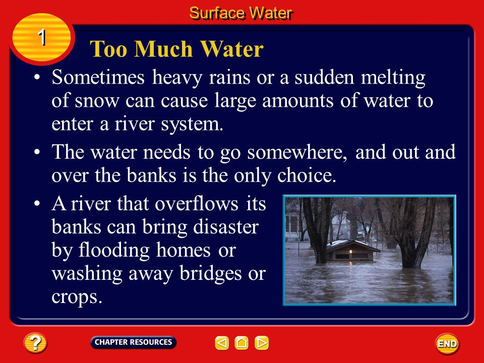 Surface Water 1. Too Much Water. Sometimes heavy rains or a sudden melting of snow can cause large amounts of water to enter a river system.
