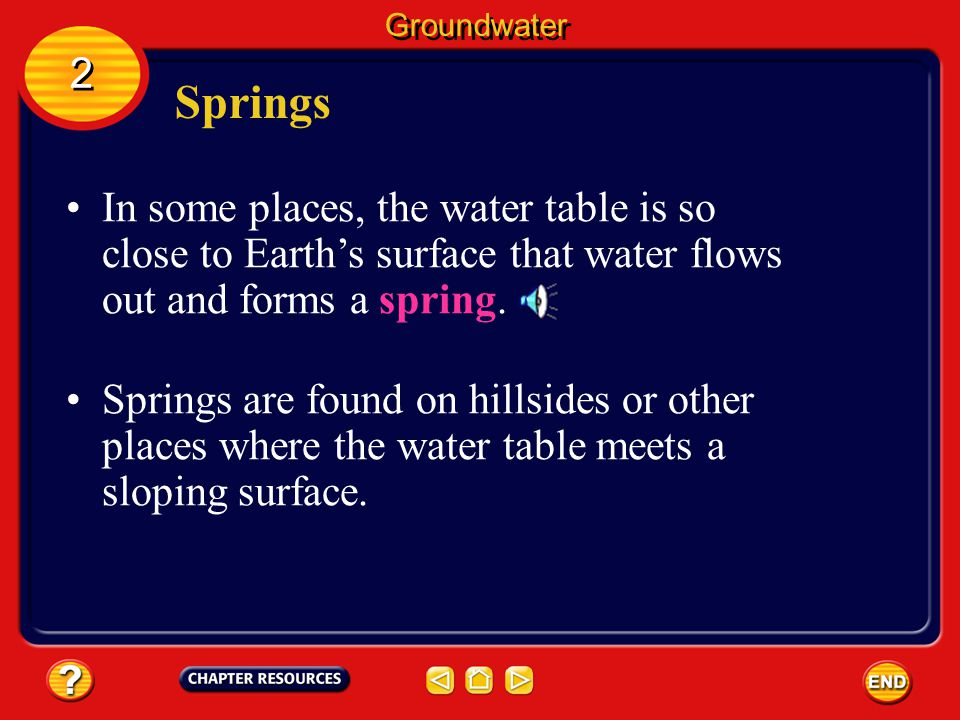 Groundwater 2. Springs. In some places, the water table is so close to Earth's surface that water flows out and forms a spring.
