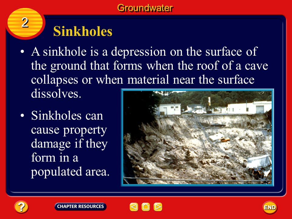 Groundwater 2. Sinkholes.