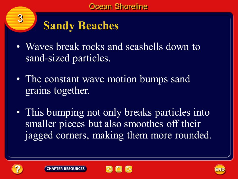 Ocean Shoreline 3. Sandy Beaches. Waves break rocks and seashells down to sand-sized particles.