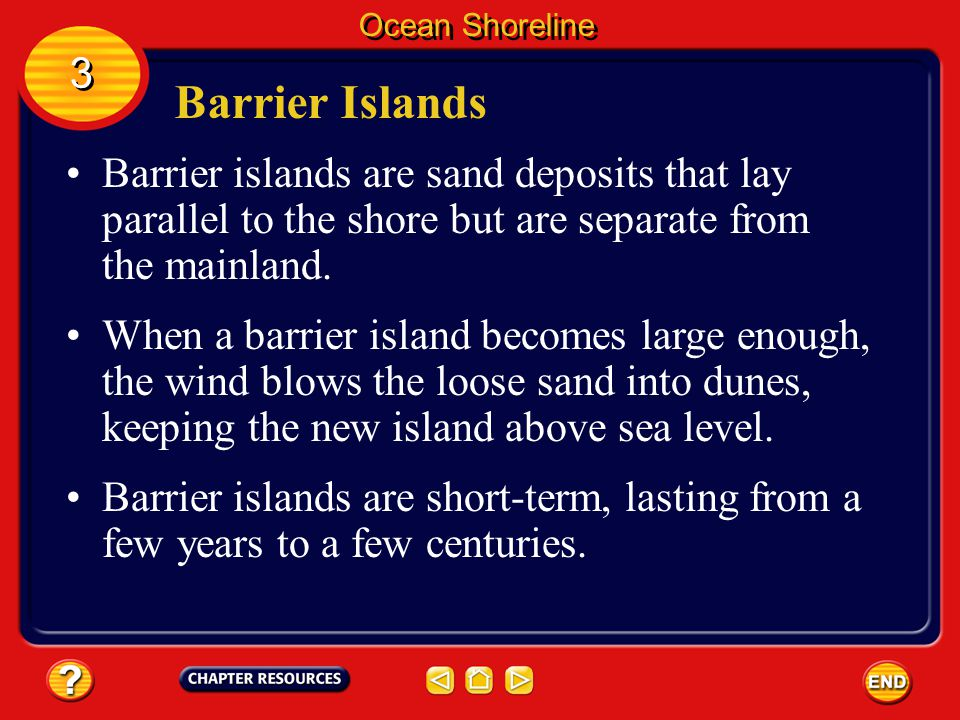 Ocean Shoreline 3. Barrier Islands. Barrier islands are sand deposits that lay parallel to the shore but are separate from the mainland.