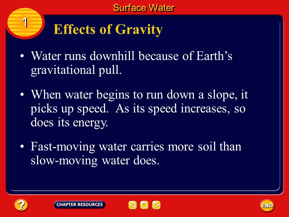 Surface Water 1. Effects of Gravity. Water runs downhill because of Earth's gravitational pull.