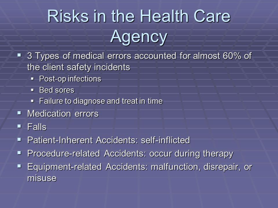 Risks in the Health Care Agency