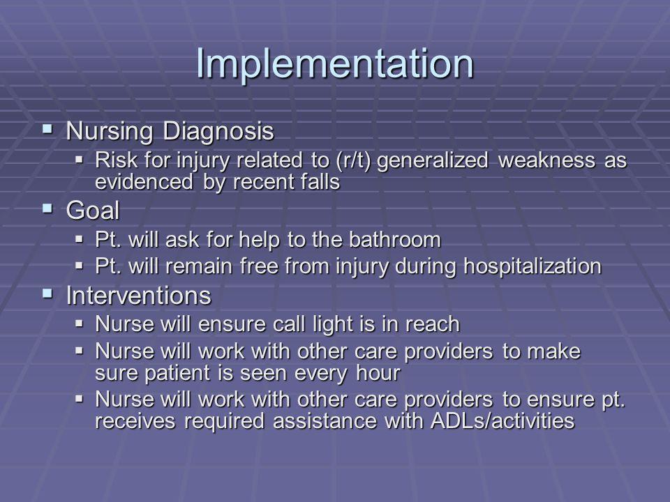 Implementation Nursing Diagnosis Goal Interventions