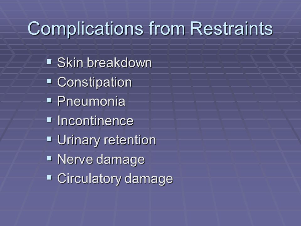 Complications from Restraints