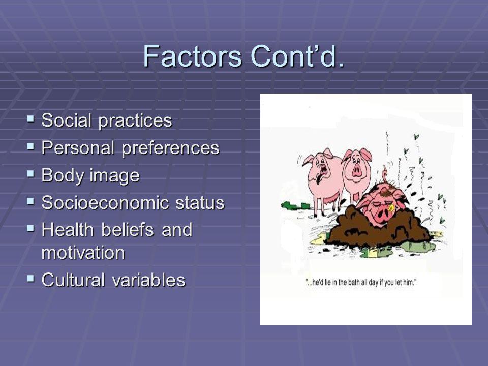Factors Cont'd. Social practices Personal preferences Body image