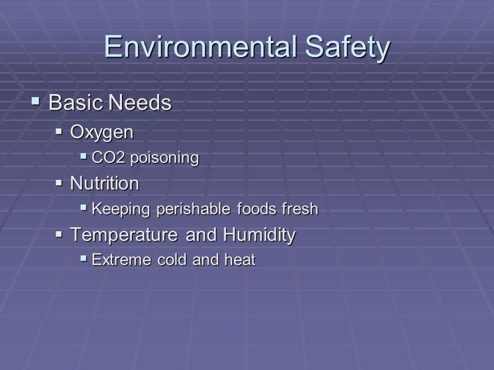 Environmental Safety Basic Needs Oxygen Nutrition