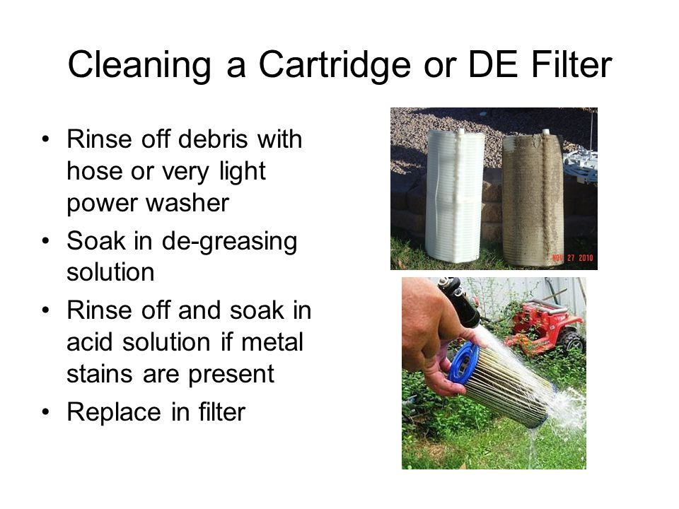 Cleaning a Cartridge or DE Filter