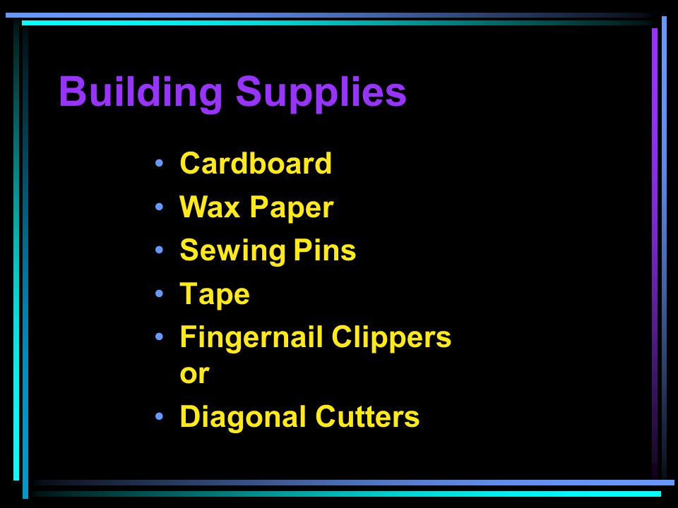Building Supplies Cardboard Wax Paper Sewing Pins Tape