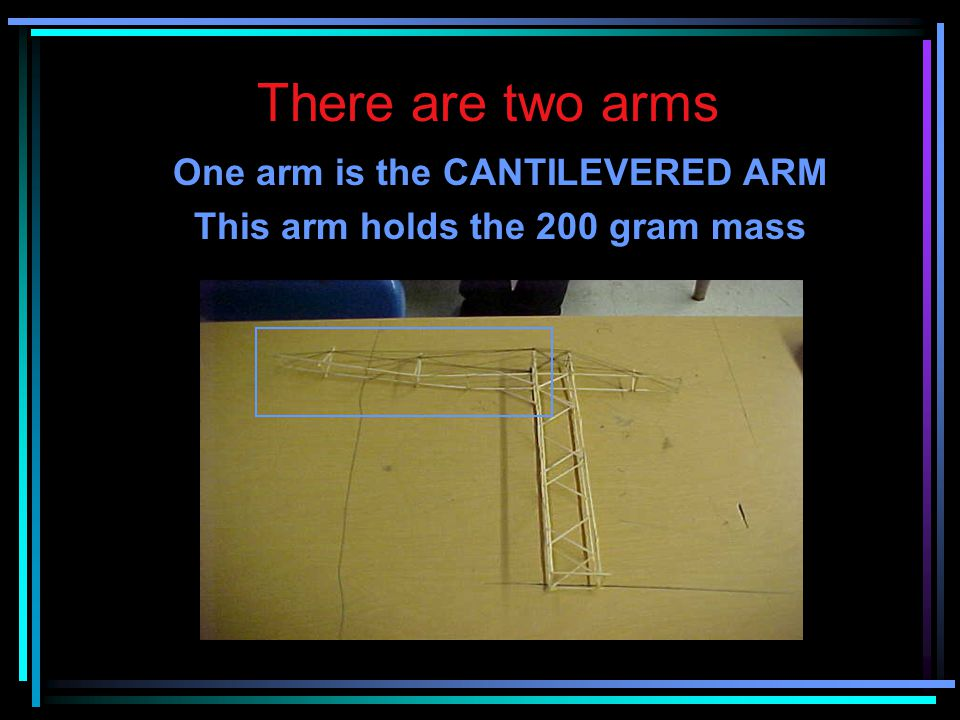 One arm is the CANTILEVERED ARM This arm holds the 200 gram mass