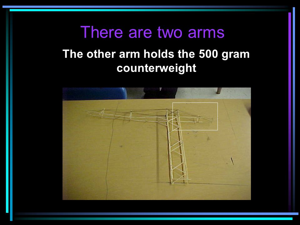 The other arm holds the 500 gram counterweight