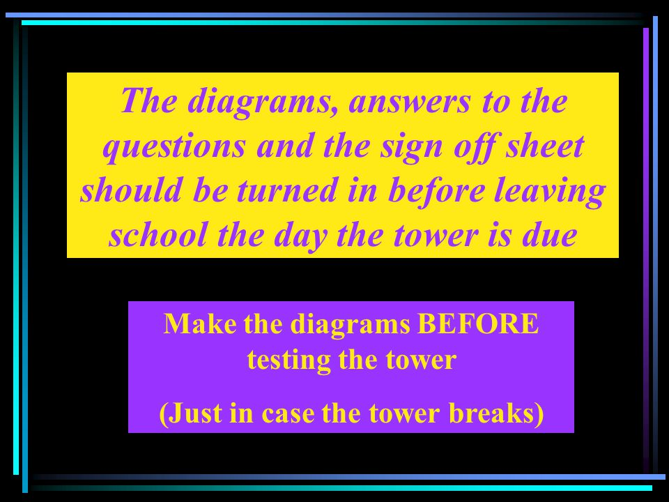 The diagrams, answers to the questions and the sign off sheet should be turned in before leaving school the day the tower is due