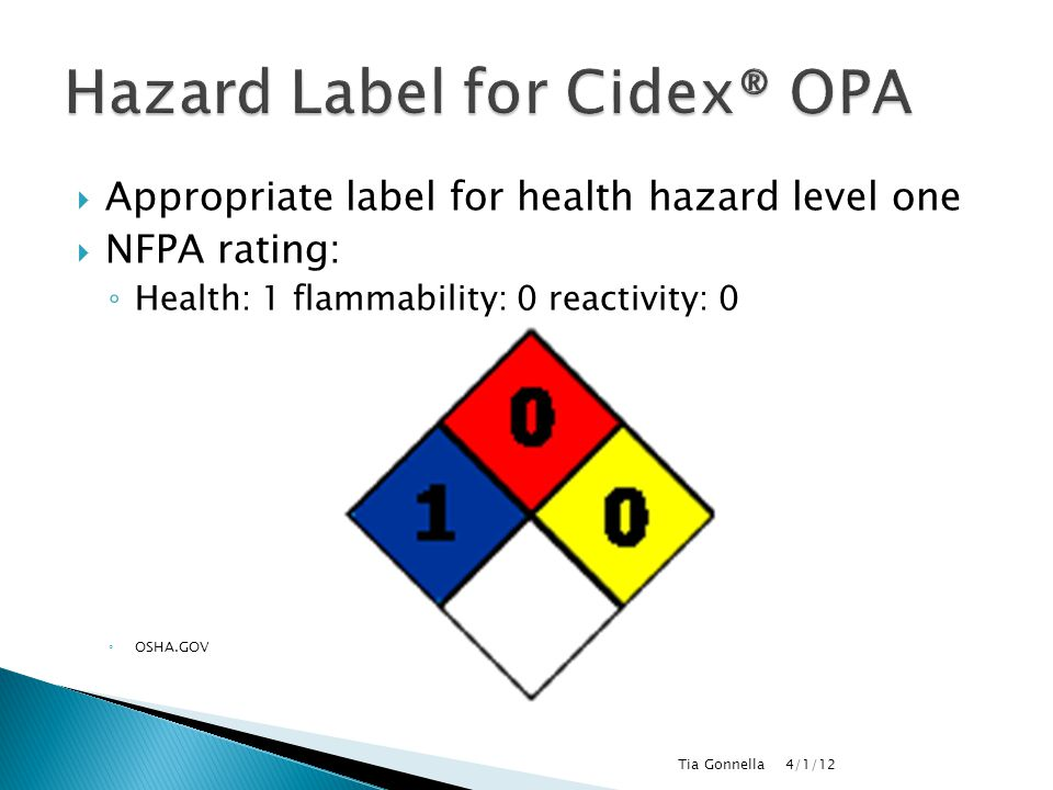 Hazard Label for Cidex® OPA