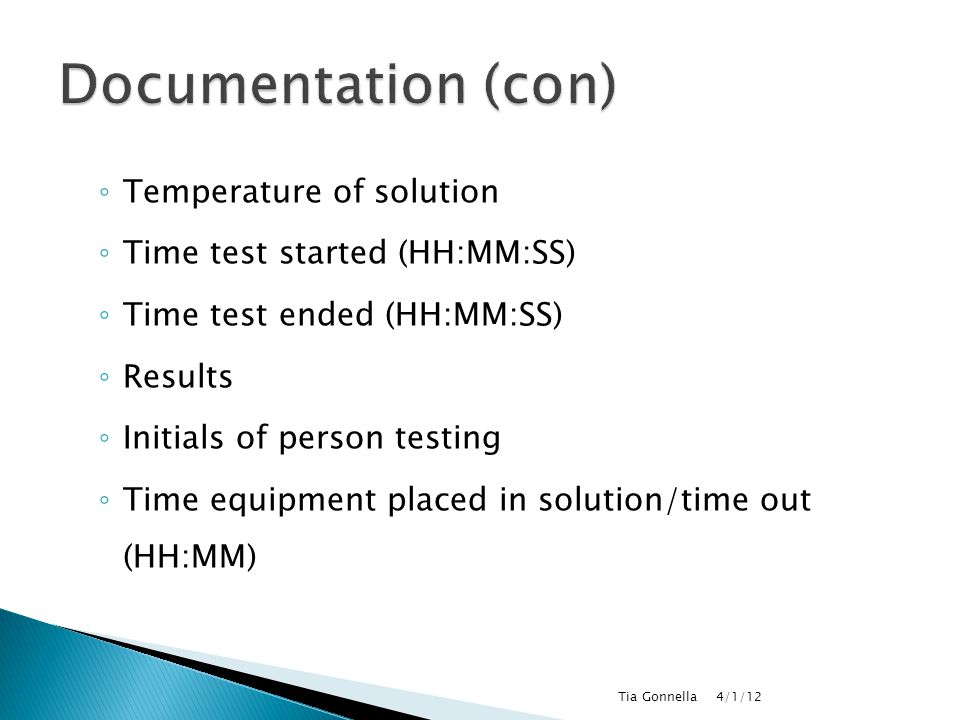 Documentation (con) Temperature of solution