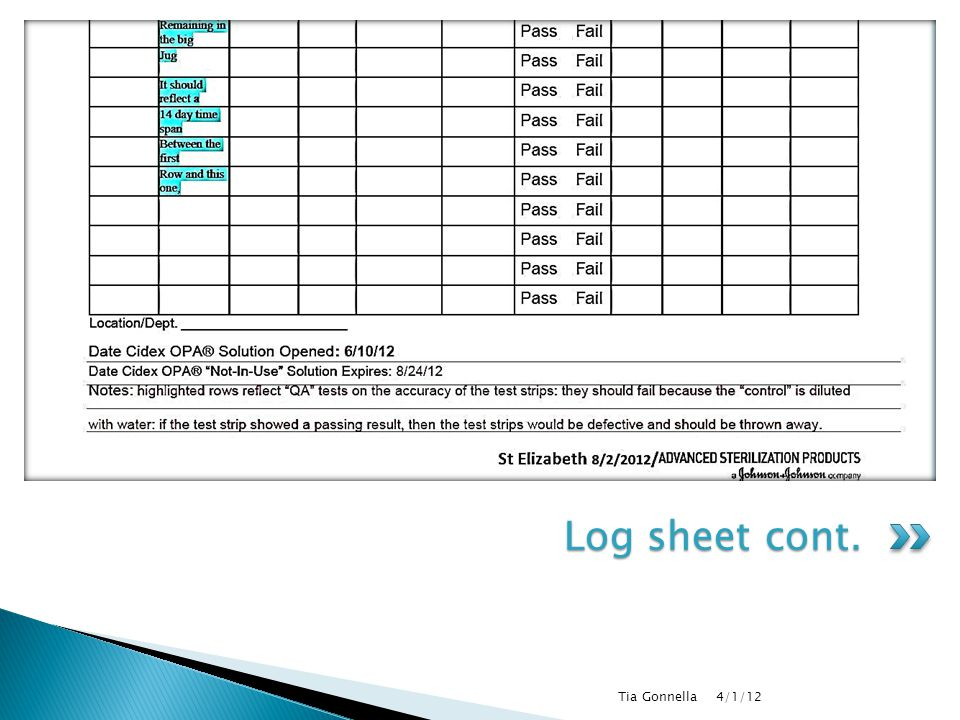 Log sheet cont. Tia Gonnella 4/1/12