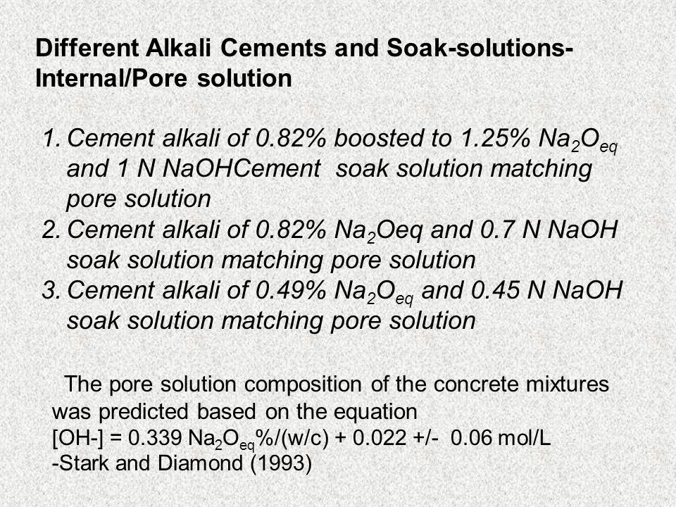 Different Alkali Cements and Soak-solutions- Internal/Pore solution