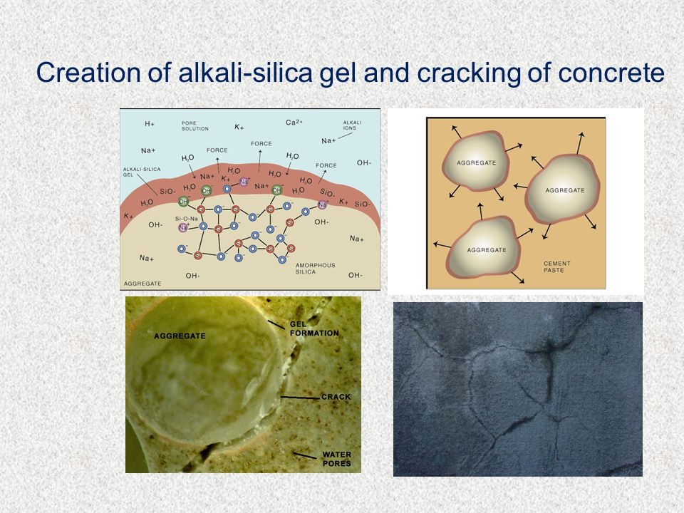 Creation of alkali-silica gel and cracking of concrete