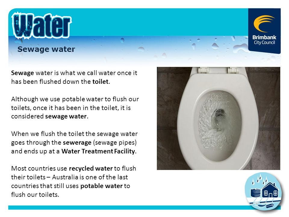 Sewage water Sewage water is what we call water once it has been flushed down the toilet.